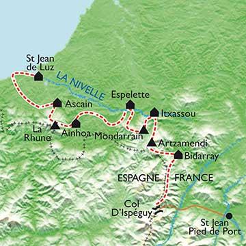 Franska-Baskien-vandringskarta