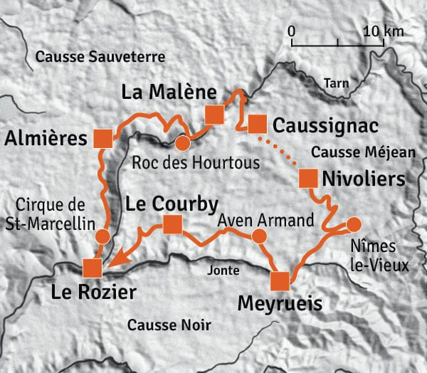 Gorges-du-Tarn-vandringskarta