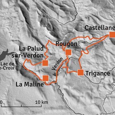 Gorges du Verdon-ruttkarta
