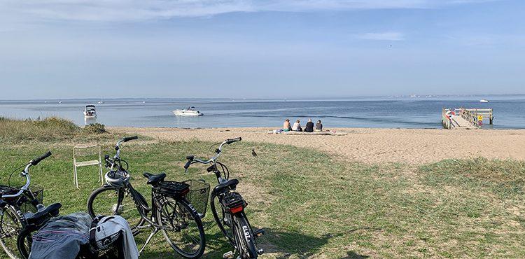 Cykelpaus på strand på Ven
